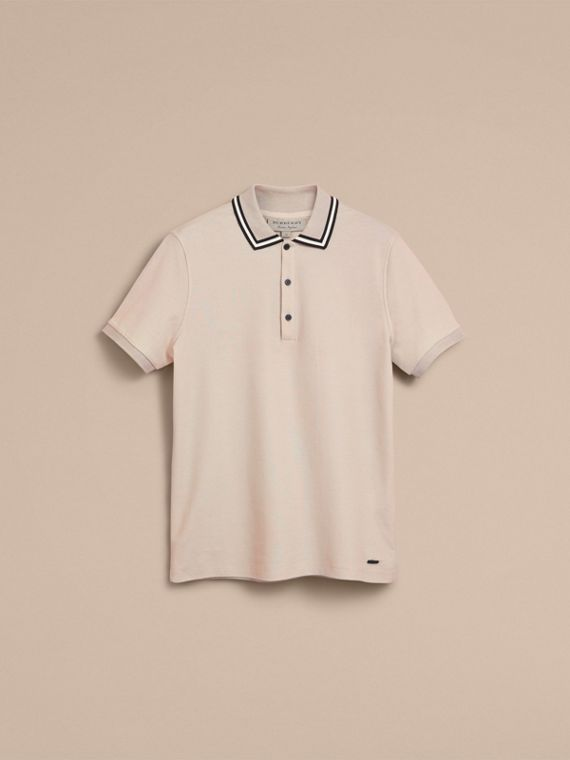 Striped Collar Cotton Piqué Polo Shirt in Stone - cell image 3