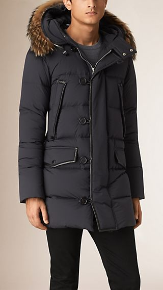 Down-filled Parka Coat with Fur Trimmed Hood