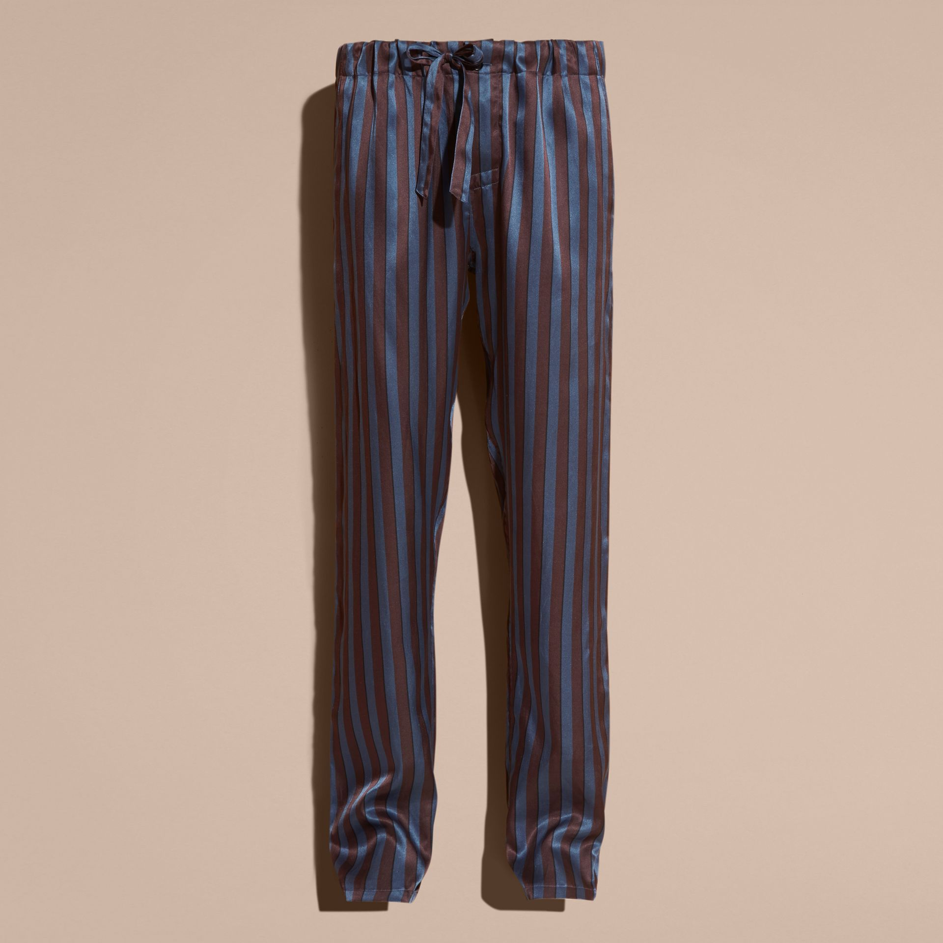 Navy Striped Silk Cotton Pyjama-style Trousers - gallery image 4