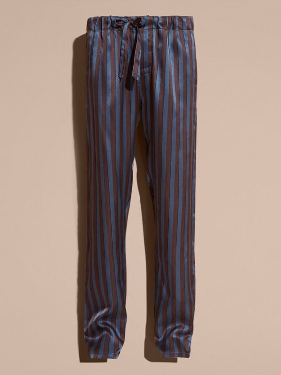 Navy Striped Silk Cotton Pyjama-style Trousers - cell image 3