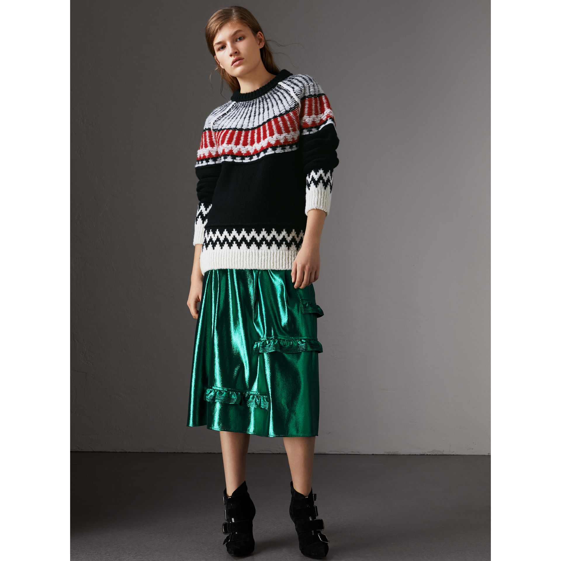 Fair Isle Wool Cashmere Sweater in Black/ Military Red - Women | Burberry - gallery image 4