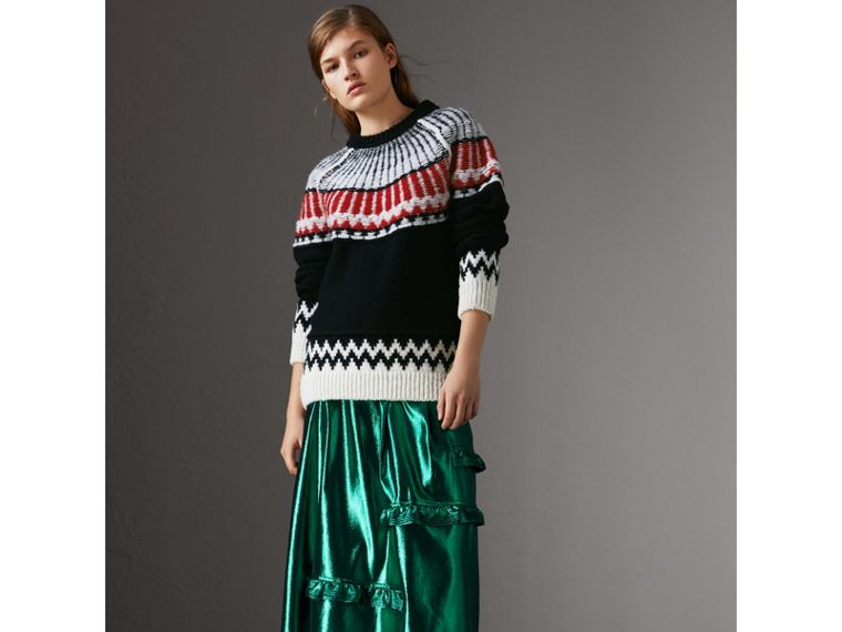 Fair Isle Wool Cashmere Sweater in Black/ Military Red - Women | Burberry - cell image 4