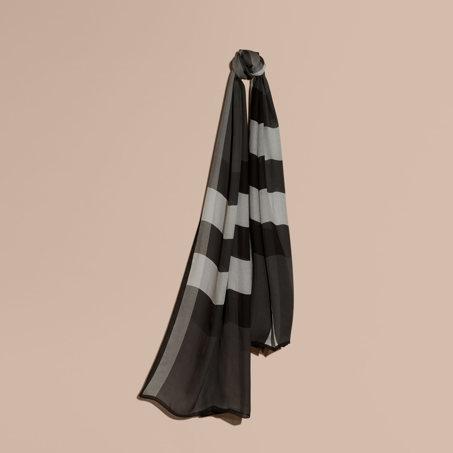 Mid grey Lightweight Check Silk Scarf Mid Grey - gallery image 1