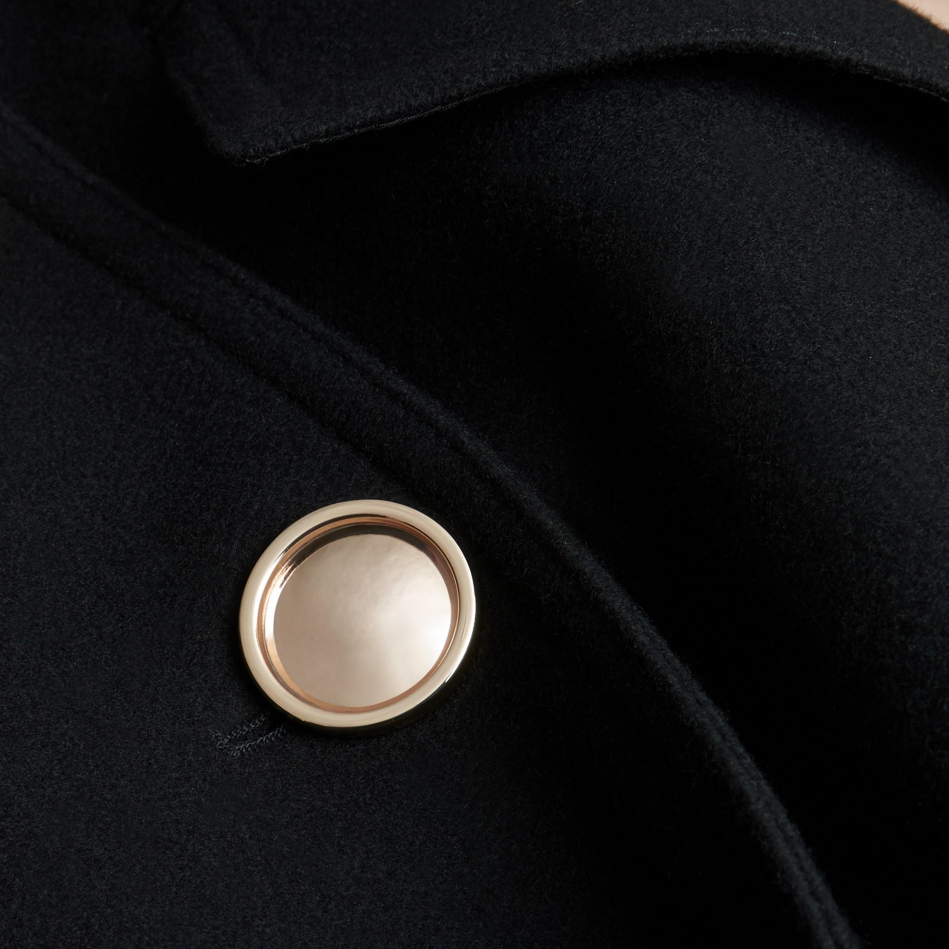 Negro Abrigo militar en mezcla de lana y cachemir - imagen de la galería 2