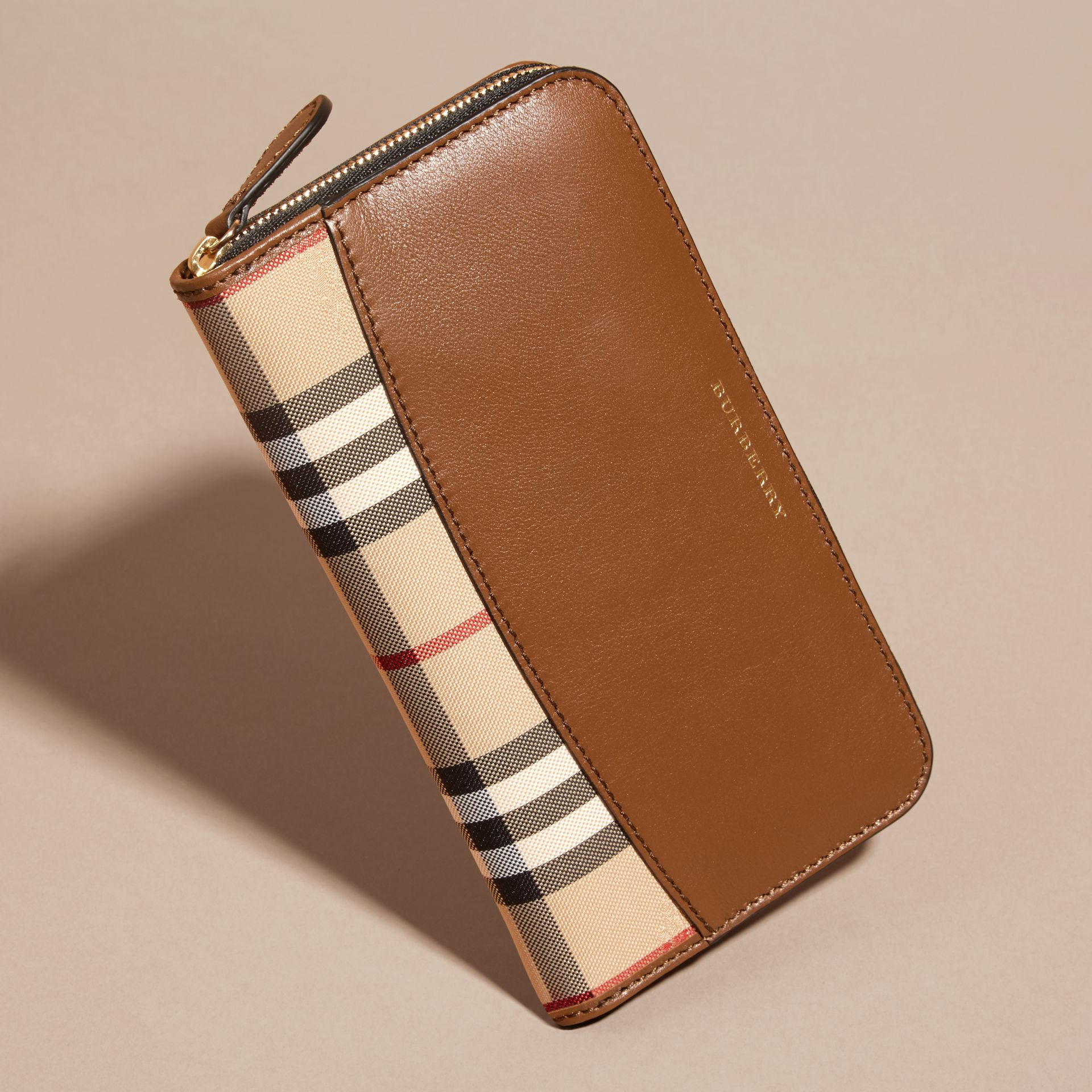 Tan Horseferry Check and Leather Ziparound Wallet Tan - gallery image 3