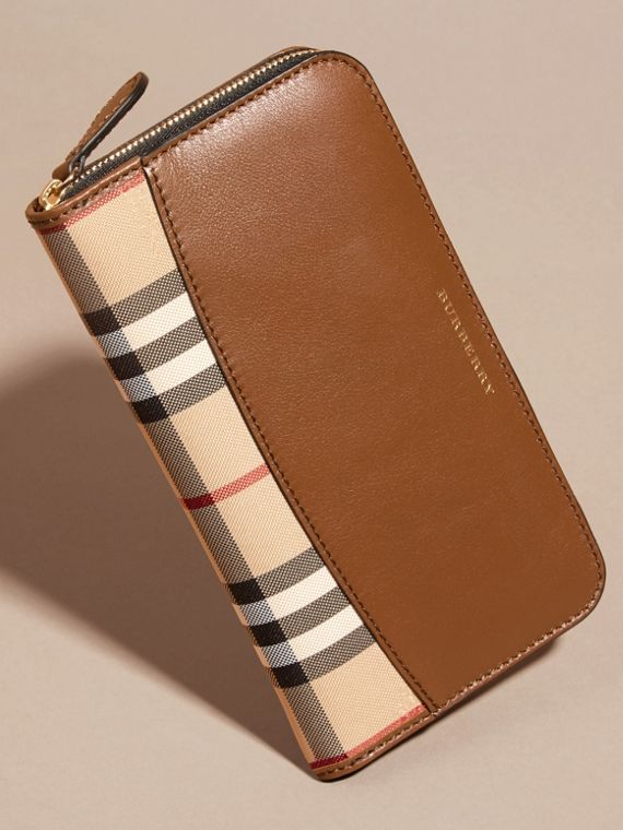 Horseferry Check and Leather Ziparound Wallet in Tan - Women | Burberry - cell image 2
