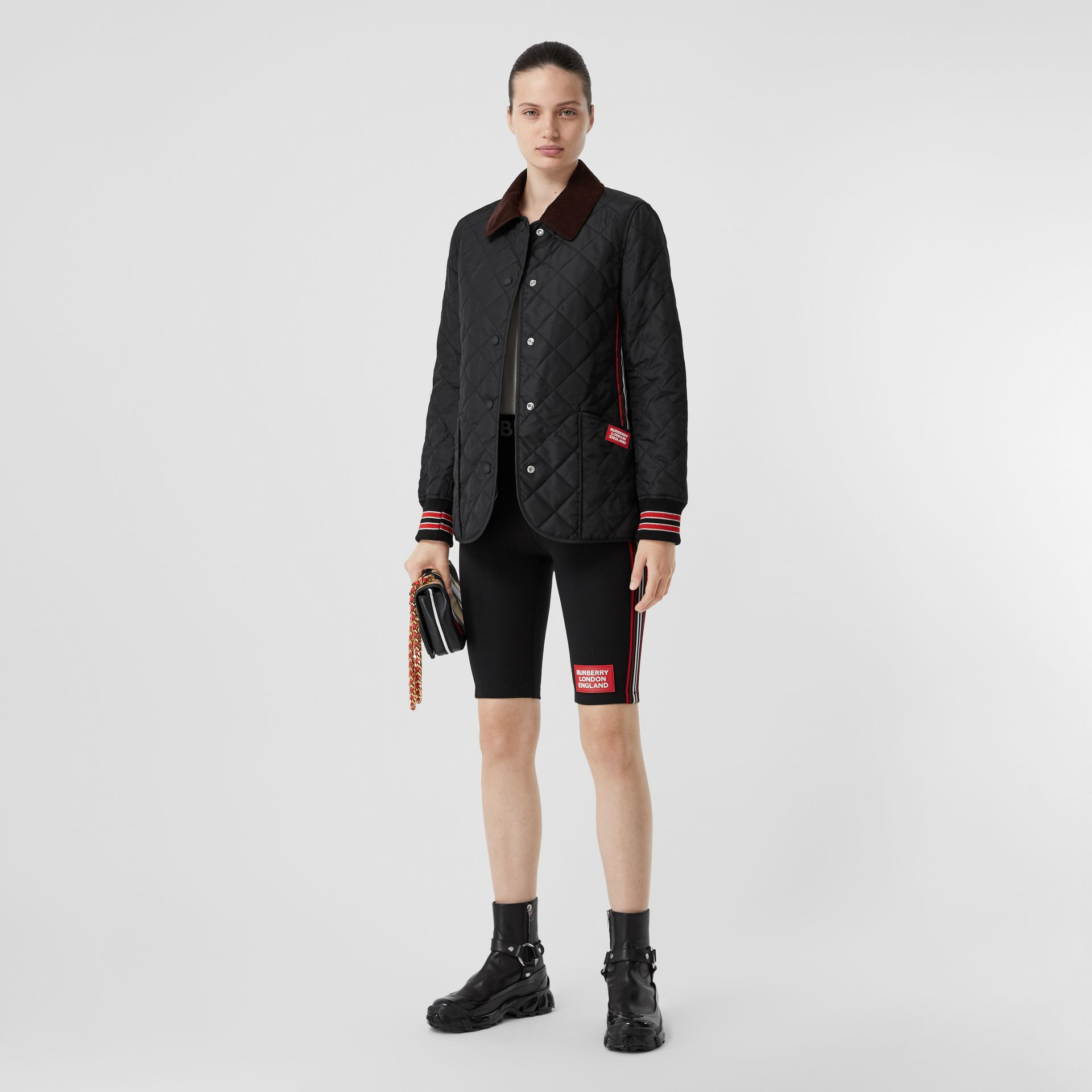 Striped Trim Diamond Quilted Barn Jacket in Black - Women | Burberry - gallery image 0