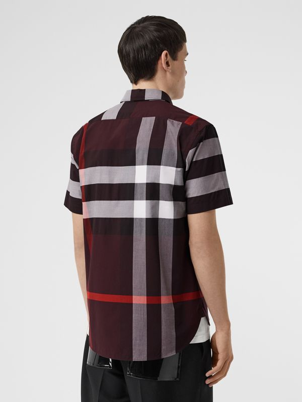 Short-sleeve Check Stretch Cotton Shirt in Deep Claret - Men | Burberry - cell image 2