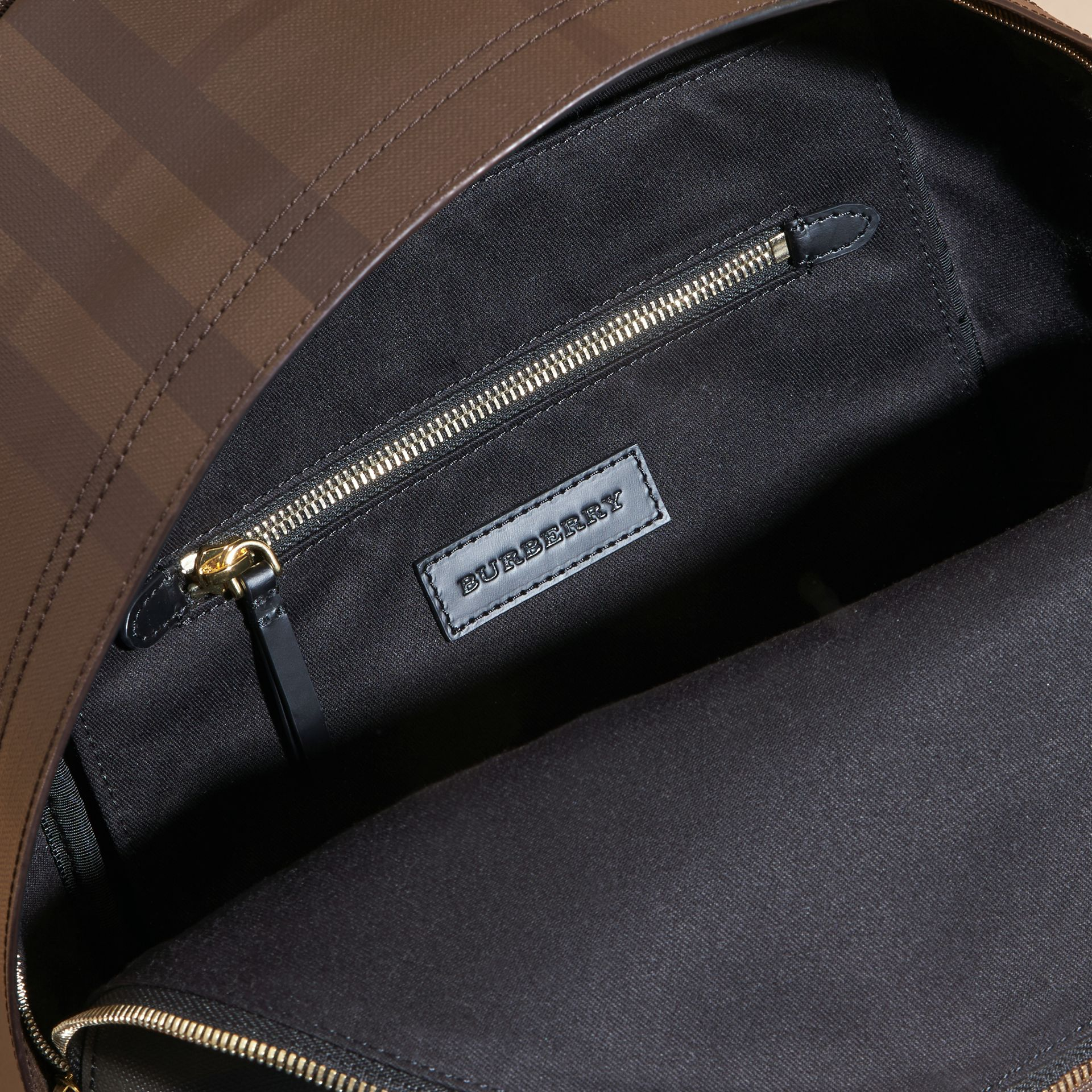 Leather Trim London Check Backpack Chocolate/black - gallery image 5