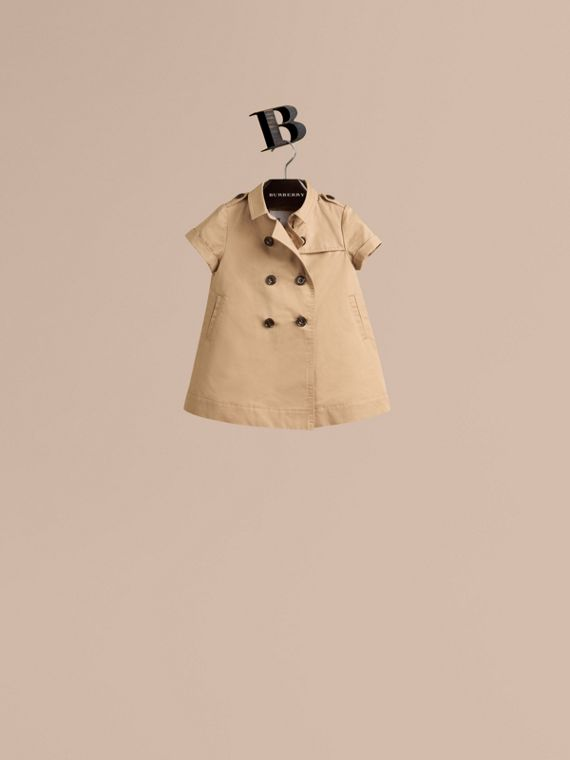 Cotton Trench Dress in Honey