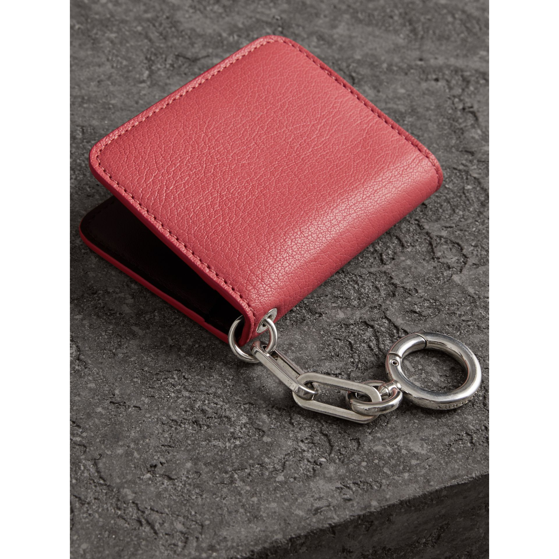 Link Detail Leather ID Card Case Charm in Bright Coral Pink - Women | Burberry - gallery image 2