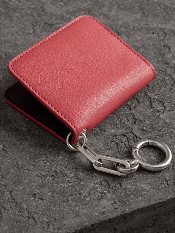 Link Detail Leather ID Card Case Charm in Bright Coral Pink - Women | Burberry - cell image 2