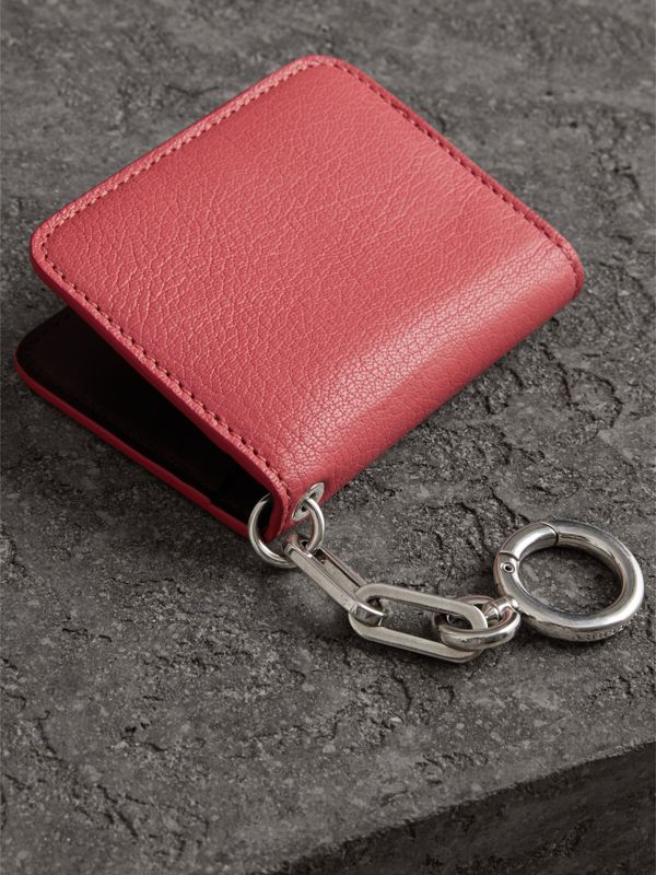 Link Detail Leather ID Card Case Charm in Bright Coral Pink - Women | Burberry Hong Kong - cell image 2