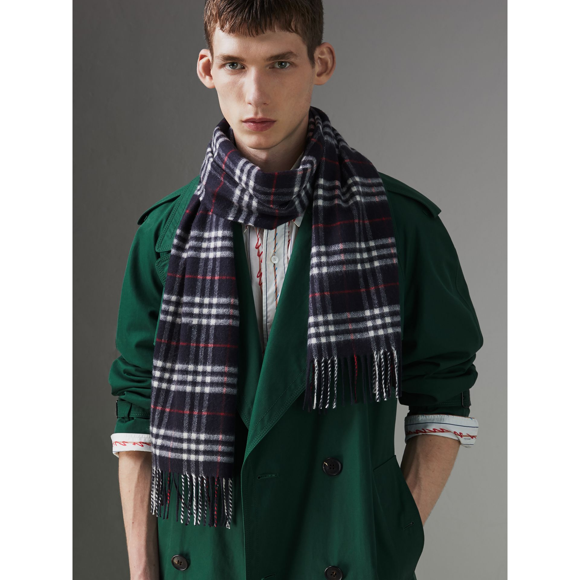 Check Cashmere Scarf in Navy | Burberry United Kingdom - gallery image 5