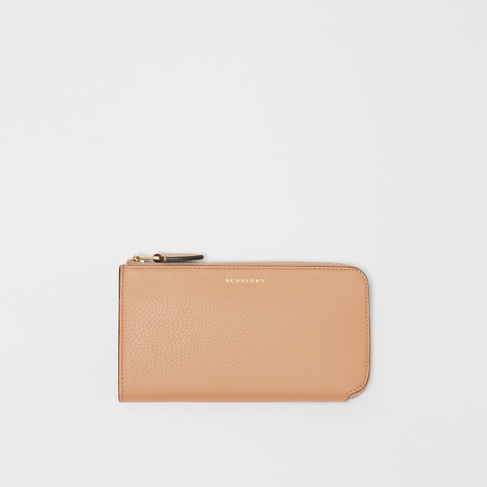 Two-tone Leather Ziparound Wallet and Coin Case in Light Camel - Women | Burberry Canada - gallery image 0