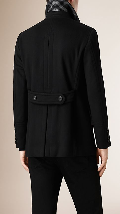 Black Virgin Wool Cashmere Pea Coat - Image 5