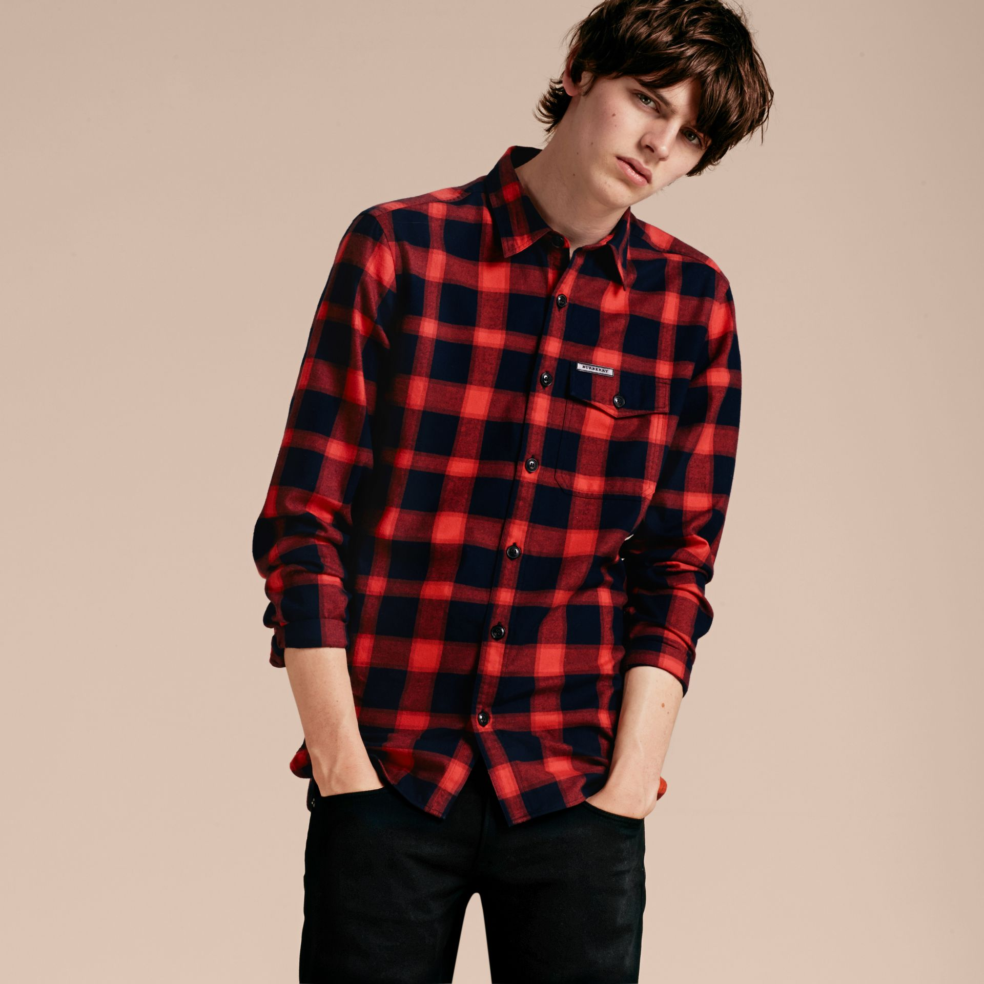 Parade red Buffalo Check Cotton Flannel Shirt Parade Red - gallery image 6