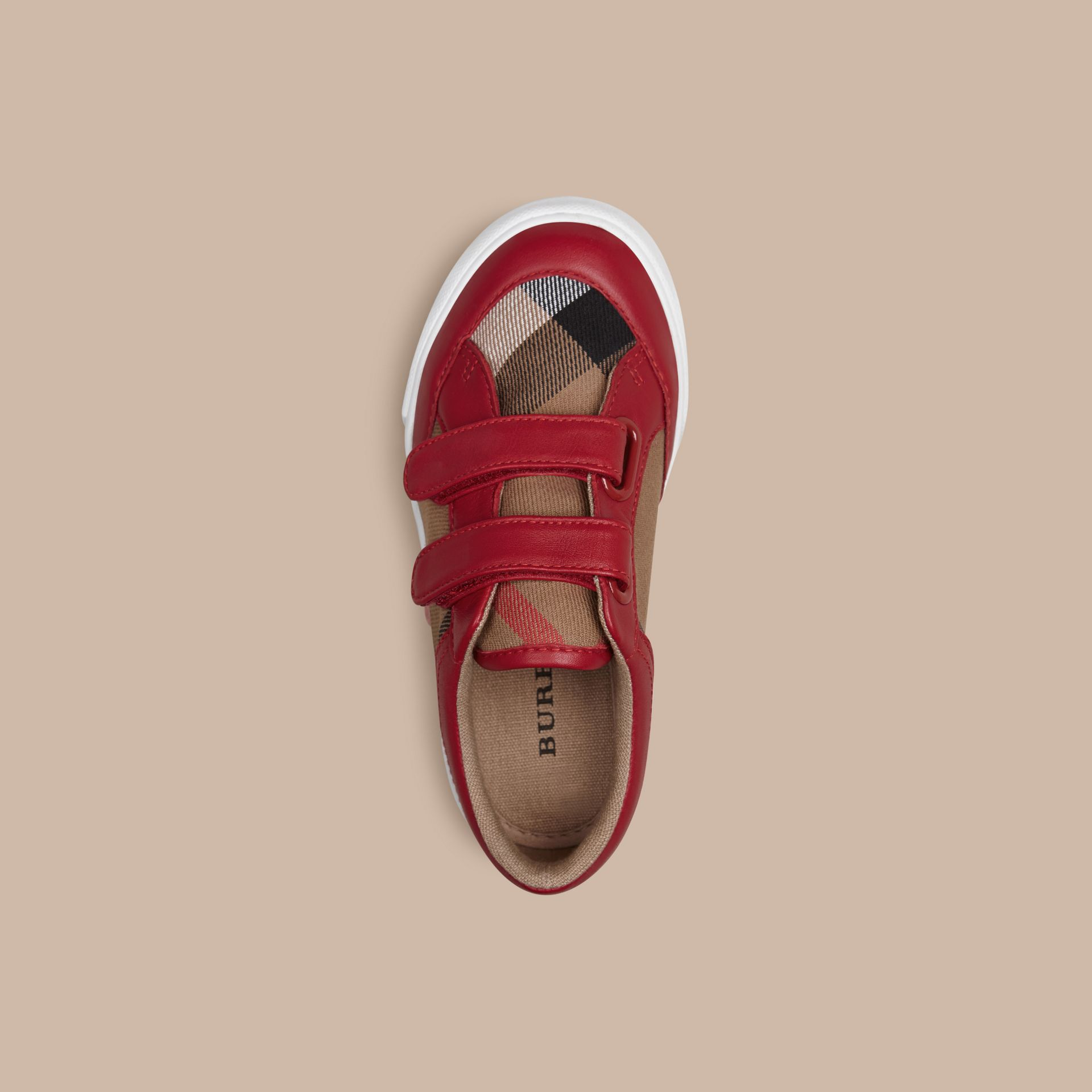 House Check and Leather Trainers in Parade Red | Burberry - gallery image 2