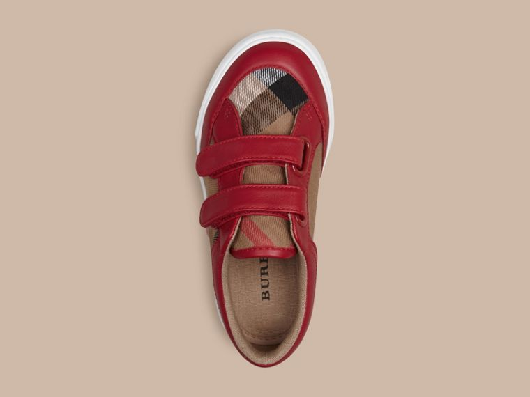 House Check and Leather Trainers in Parade Red | Burberry - cell image 1