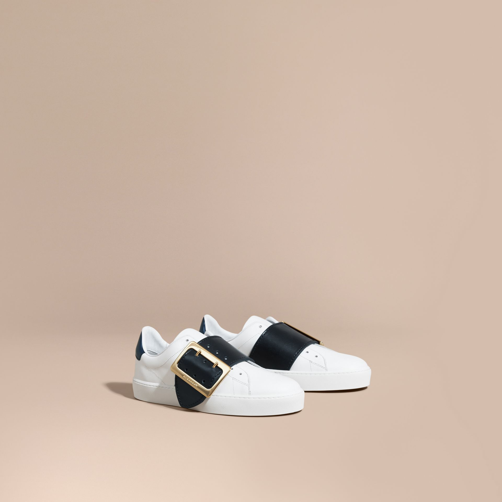Buckle Detail Leather Trainers in Optic White/navy - gallery image 1