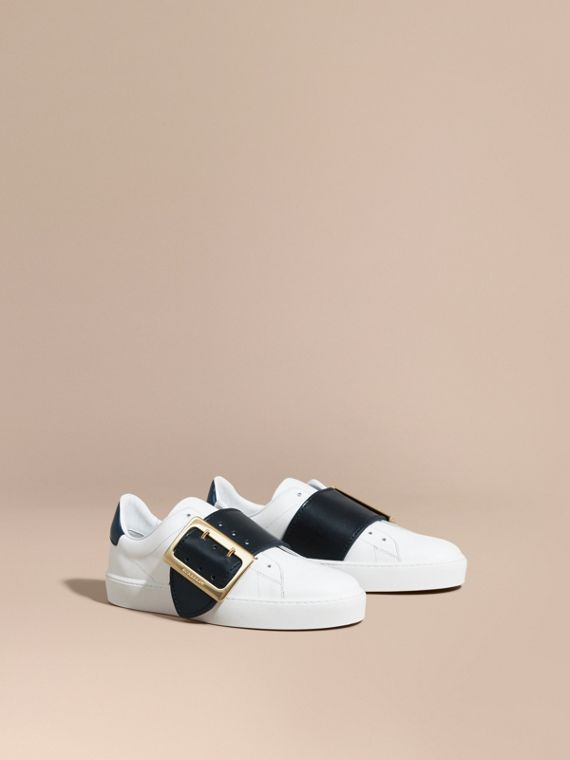 Buckle Detail Leather Trainers Optic White/navy