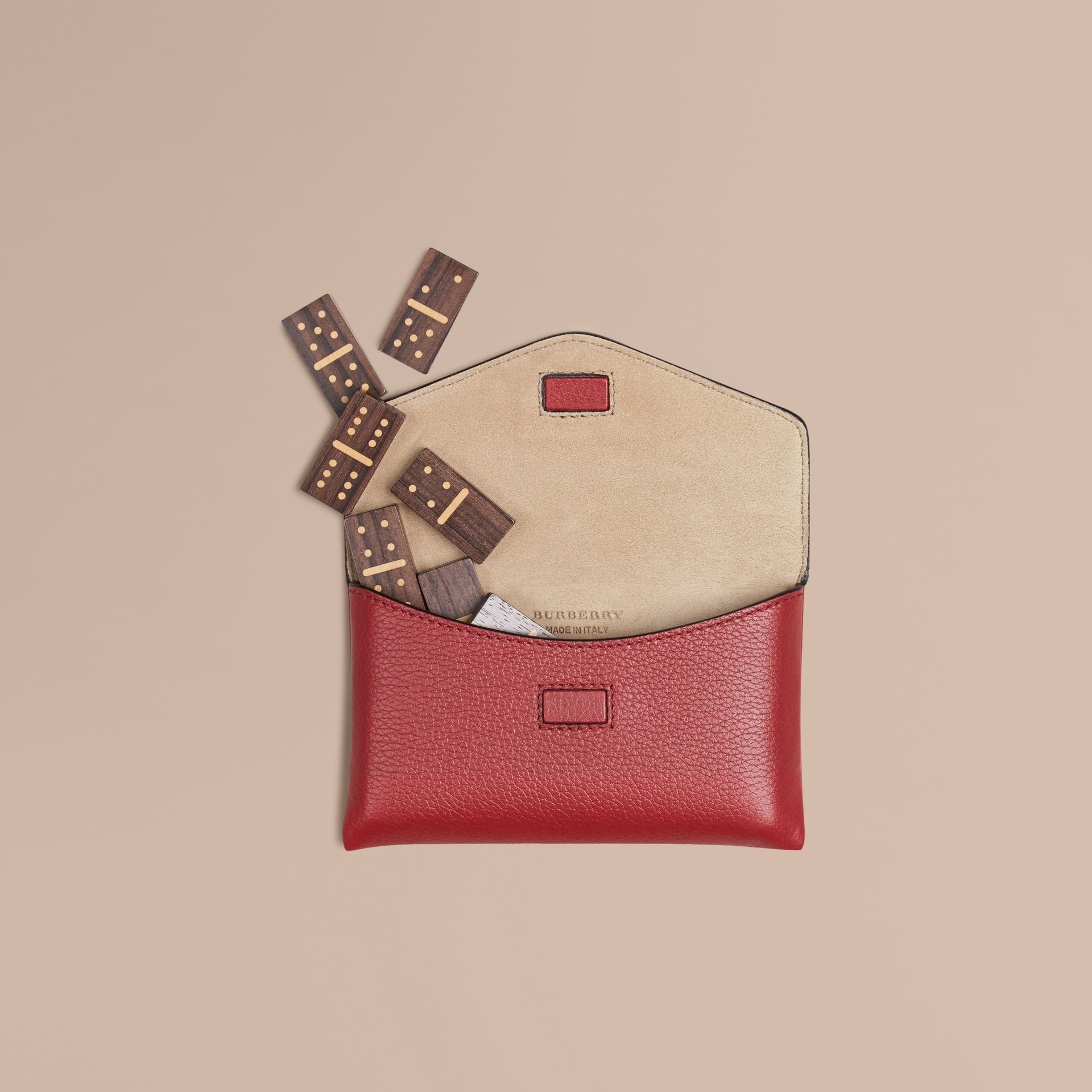 Wooden Domino Set with Grainy Leather Case in Parade Red | Burberry Hong Kong - gallery image 1