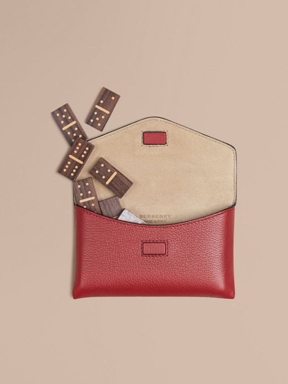 Wooden Domino Set with Grainy Leather Case in Parade Red