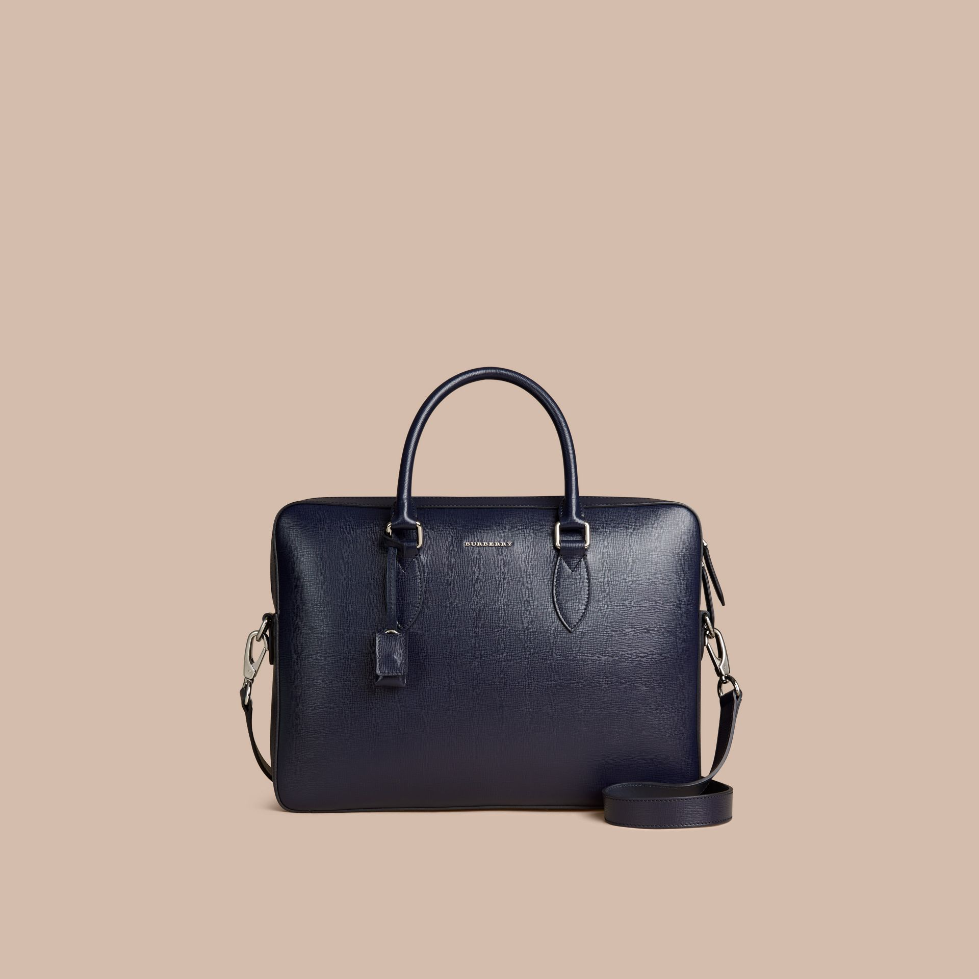 Medium London Leather Briefcase Dark Navy - gallery image 7