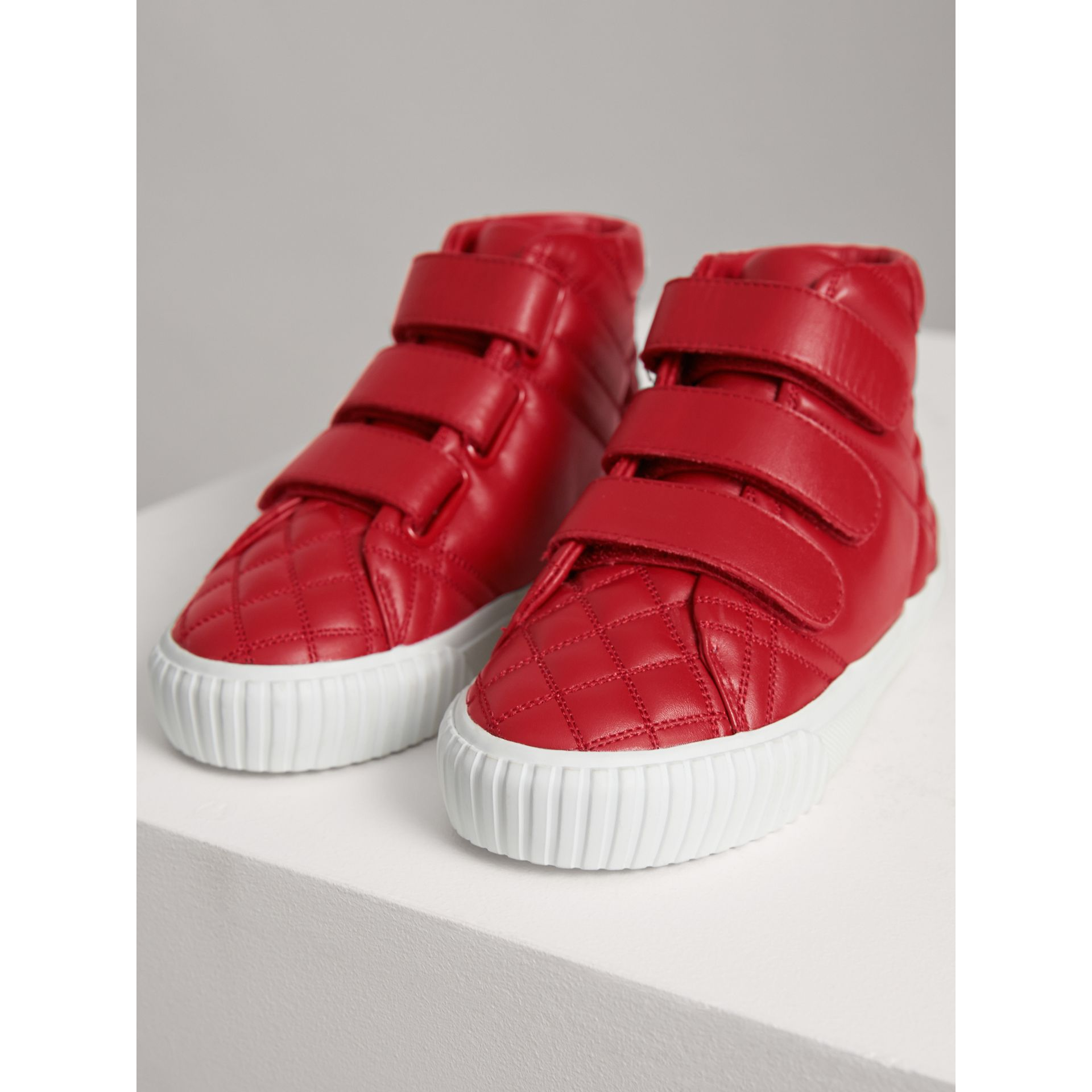 Quilted Leather High-top Trainers in Parade Red | Burberry Canada - gallery image 4