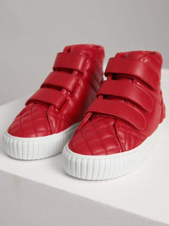 Quilted Leather High-top Trainers in Parade Red | Burberry - cell image 3