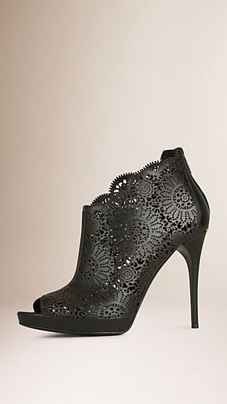 Laser-cut Lace Leather Peep-toe Ankle Boots