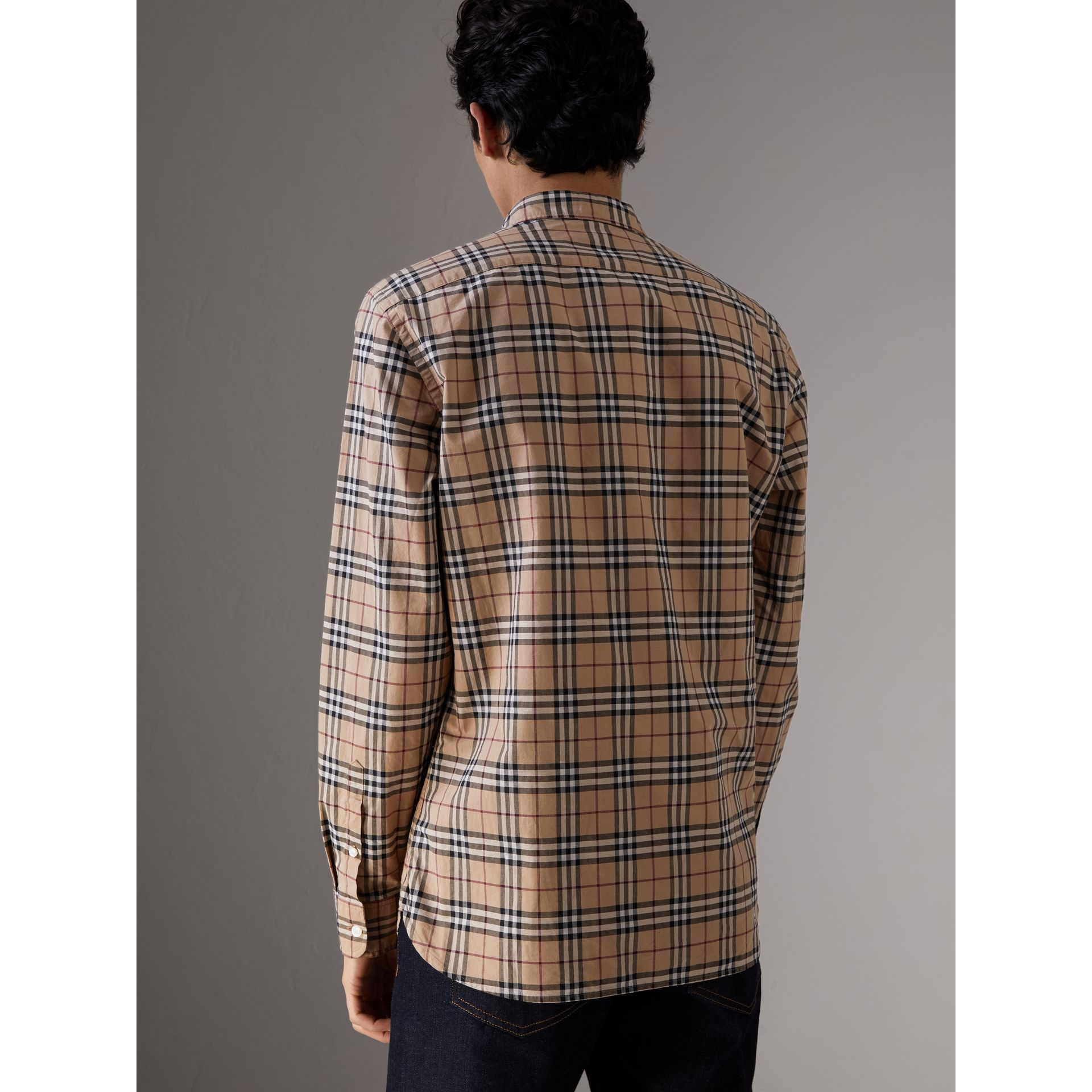 Check Cotton Shirt in Camel - Men | Burberry Canada - gallery image 3