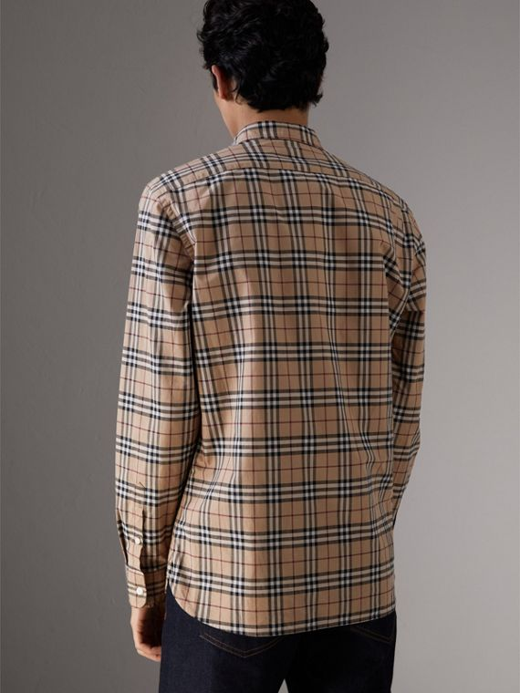Check Cotton Shirt in Camel - Men | Burberry United Kingdom - cell image 2