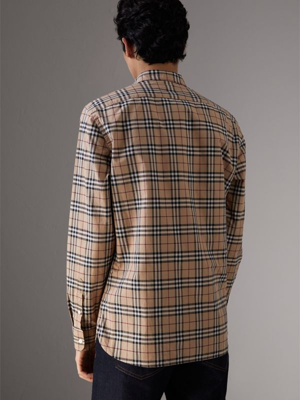 Check Cotton Shirt in Camel - Men | Burberry Australia - cell image 2