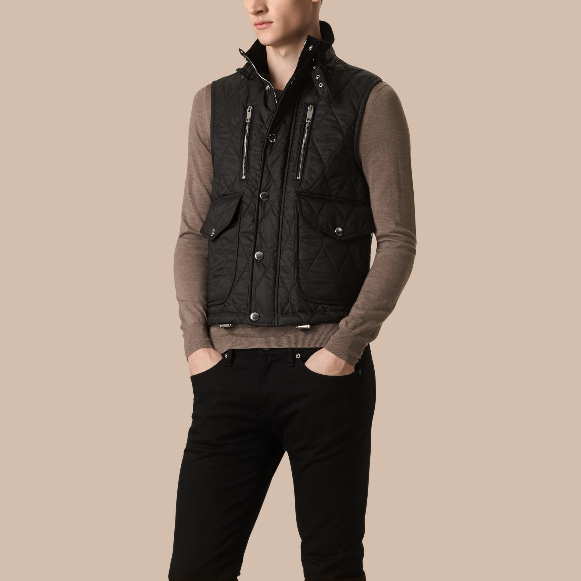 Black Multi-Pocket Diamond Quilted Gilet Black - gallery image 1