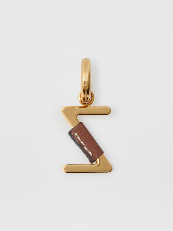 Leather-wrapped 'Z' Alphabet Charm in Light Gold/tan - Women | Burberry - cell image 3