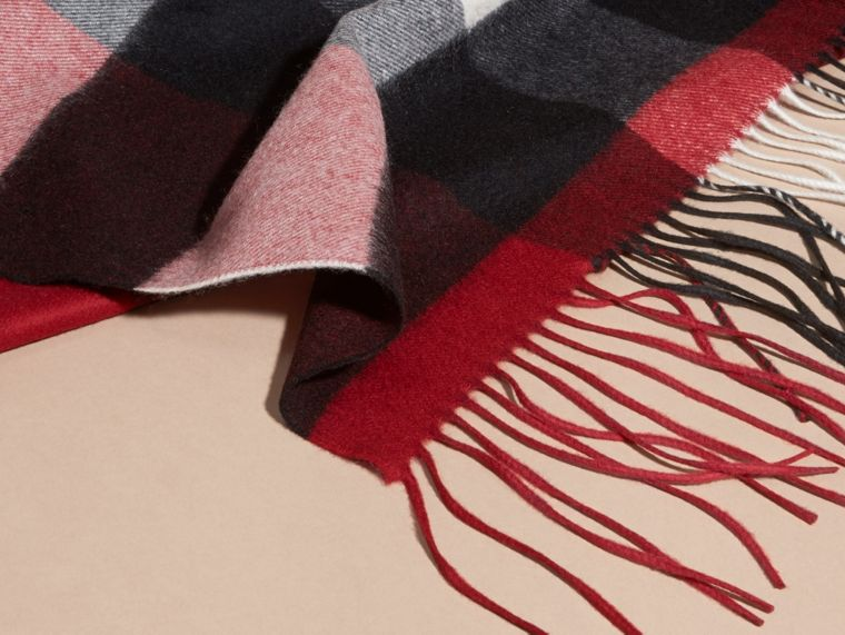 Oversize Check Cashmere Scarf in Parade Red - cell image 1