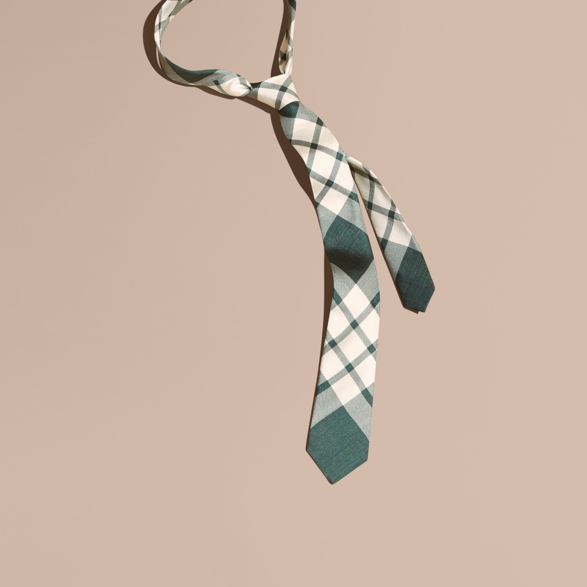 Deep green Slim Cut Check Silk Tie Deep Green - gallery image 1