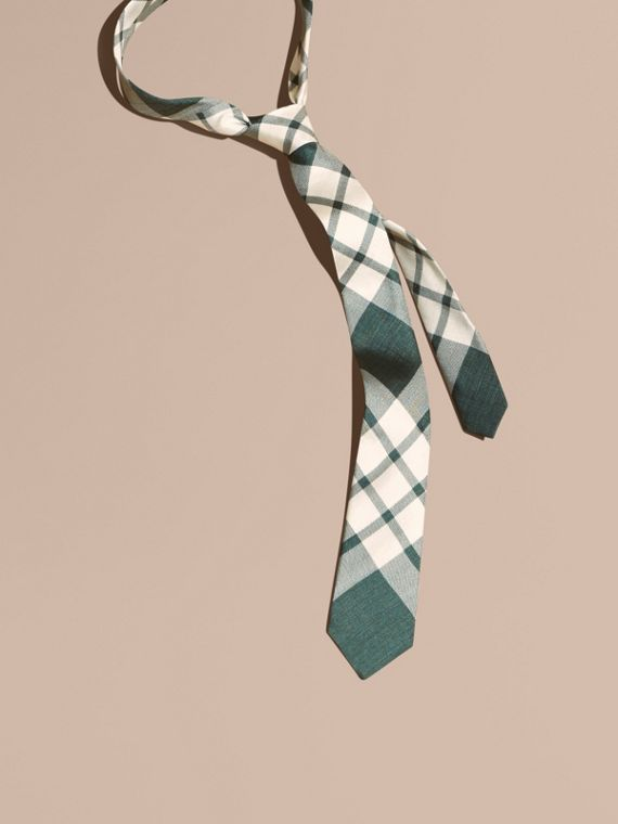 Slim Cut Check Silk Tie Deep Green