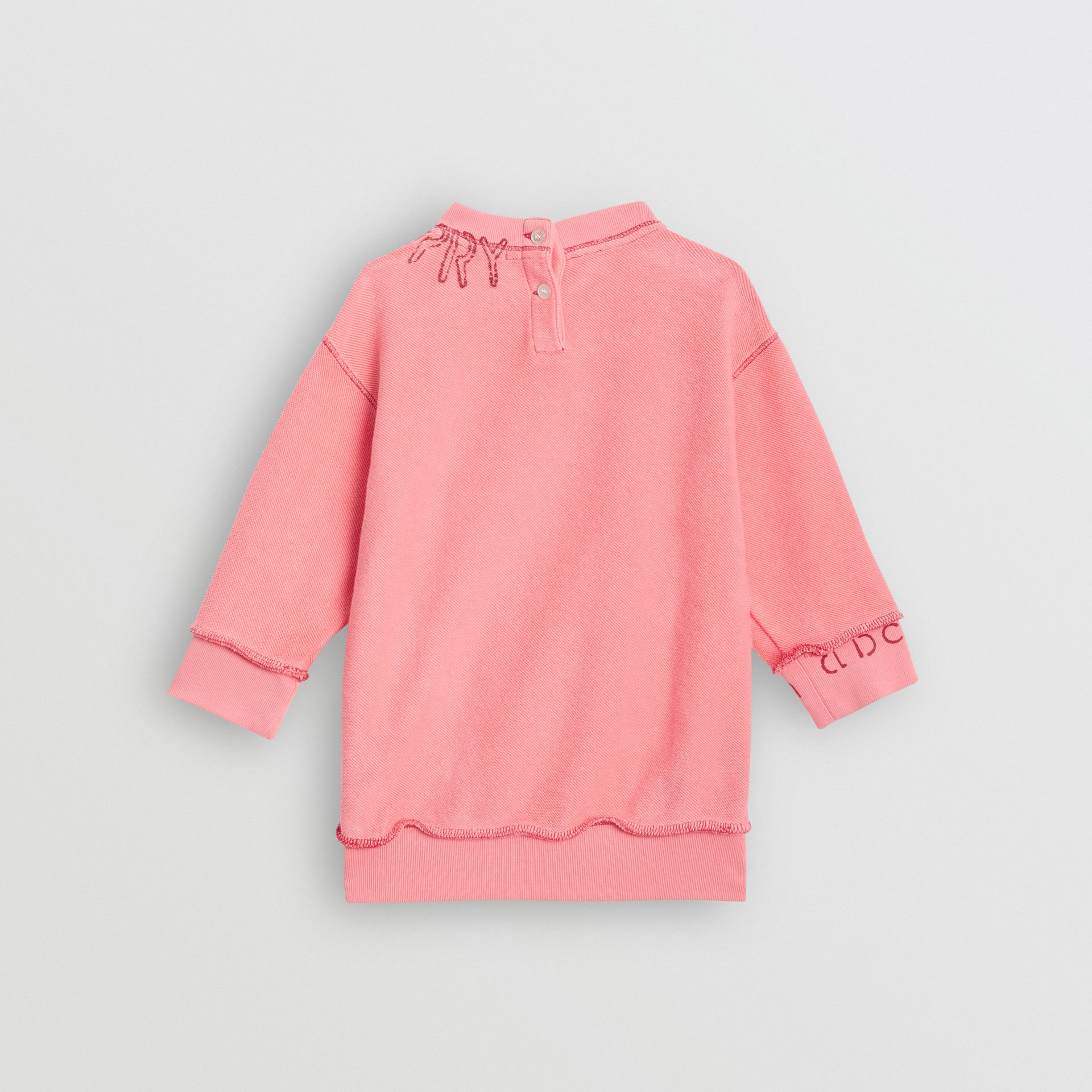 Stencil Logo Print Cotton Sweater Dress in Bright Pink - Children | Burberry Canada - gallery image 3