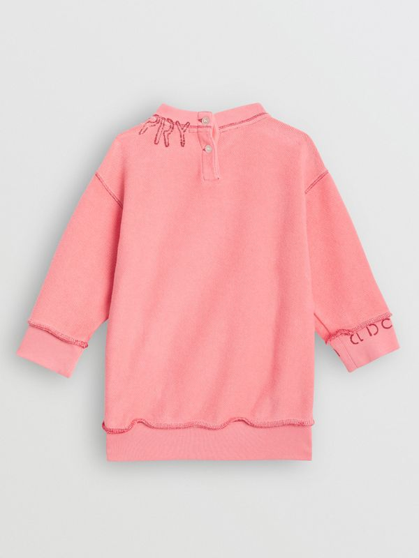 Stencil Logo Print Cotton Sweater Dress in Bright Pink - Children | Burberry - cell image 3