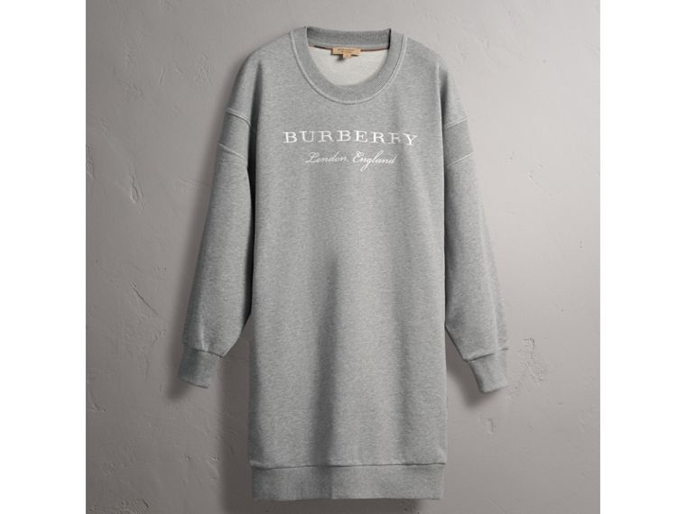 Embroidered Motif Cotton Jersey Sweatshirt Dress - cell image 4