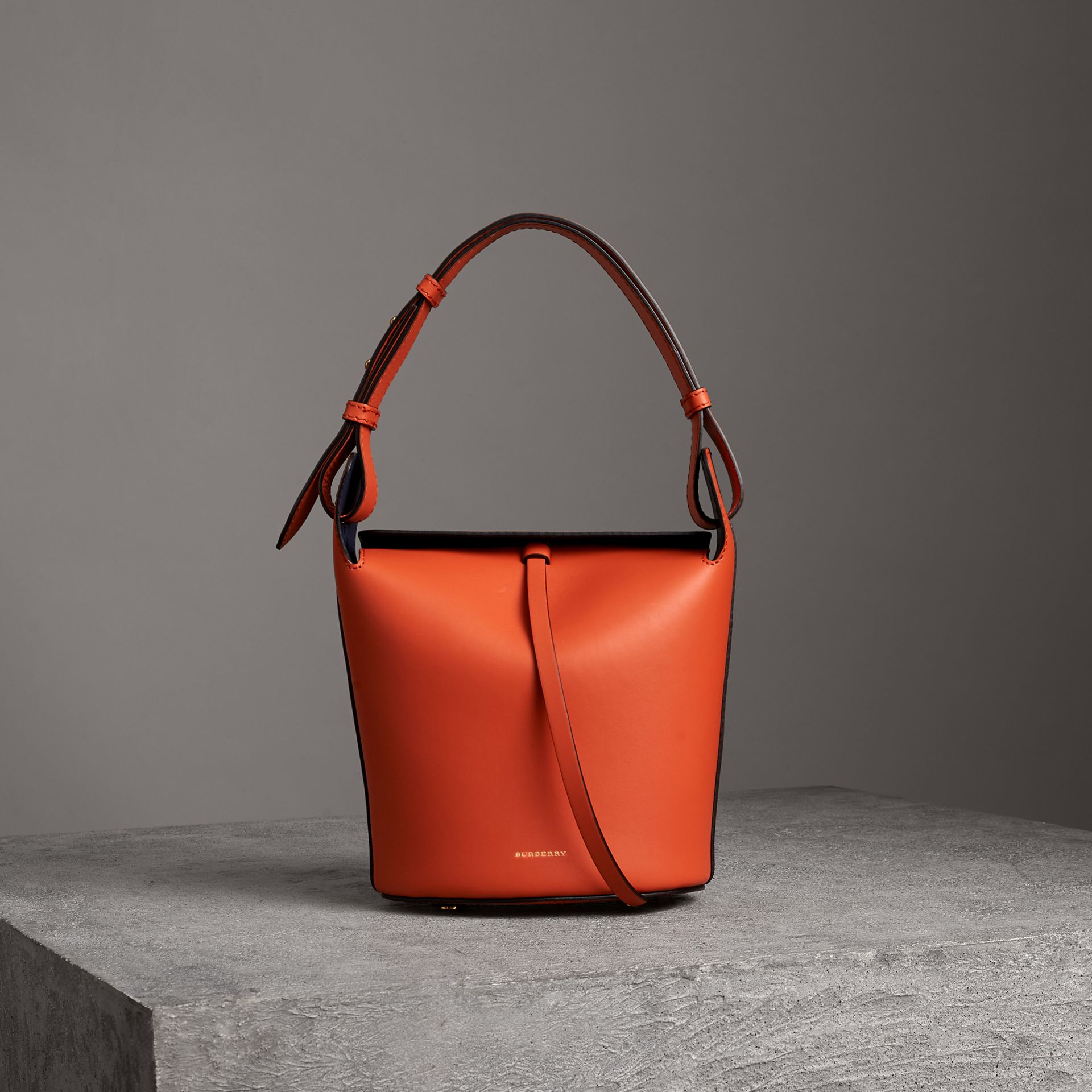 The Small Leather Bucket Bag in Clementine - Women | Burberry United Kingdom - gallery image 0
