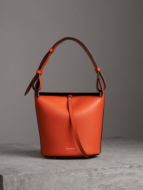 The Small Leather Bucket Bag in Clementine