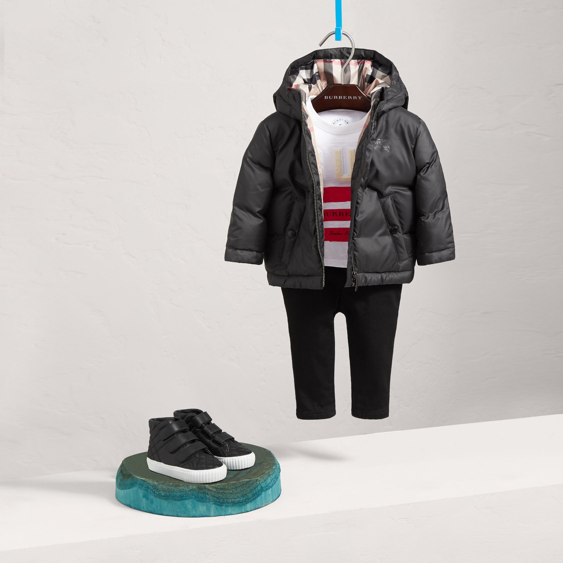 Down-filled Hooded Puffer Jacket in Charcoal | Burberry - gallery image 0
