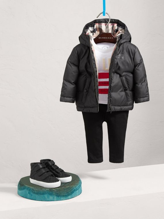 Down-filled Hooded Puffer Jacket in Charcoal