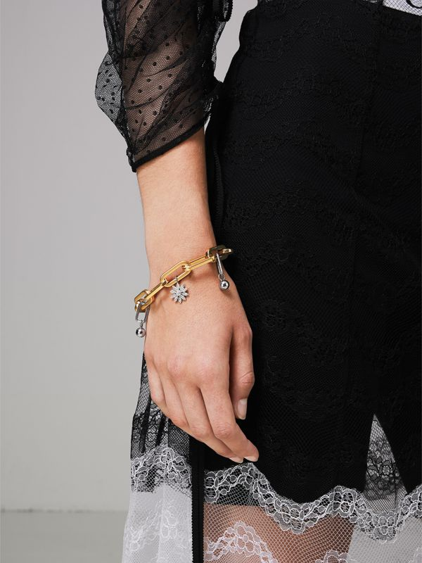 Crystal Charm Gold and Palladium-plated Bracelet in Light Gold/palladio - Women | Burberry Canada - cell image 2