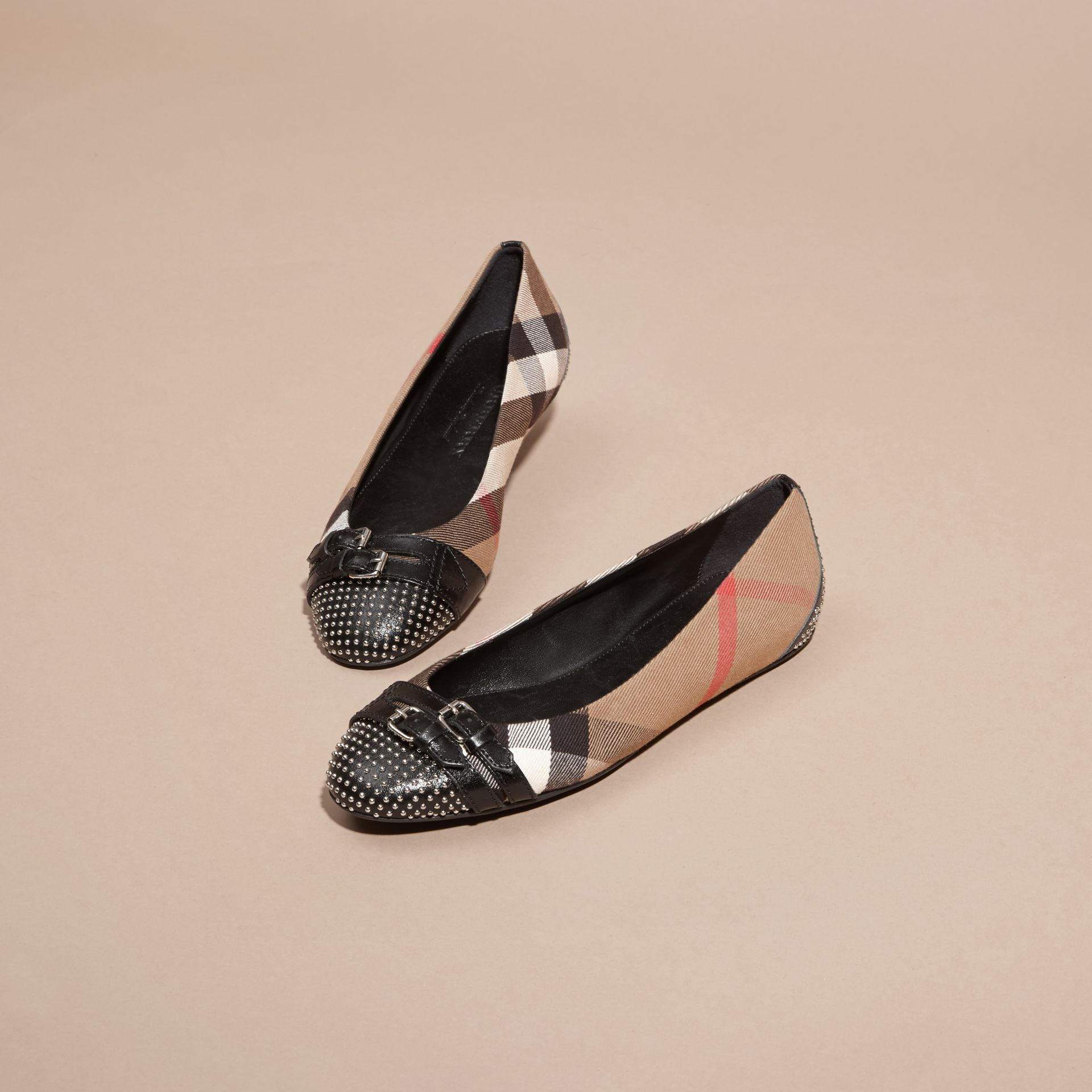 Black Stud and Buckle Detail House Check Ballerinas - gallery image 3