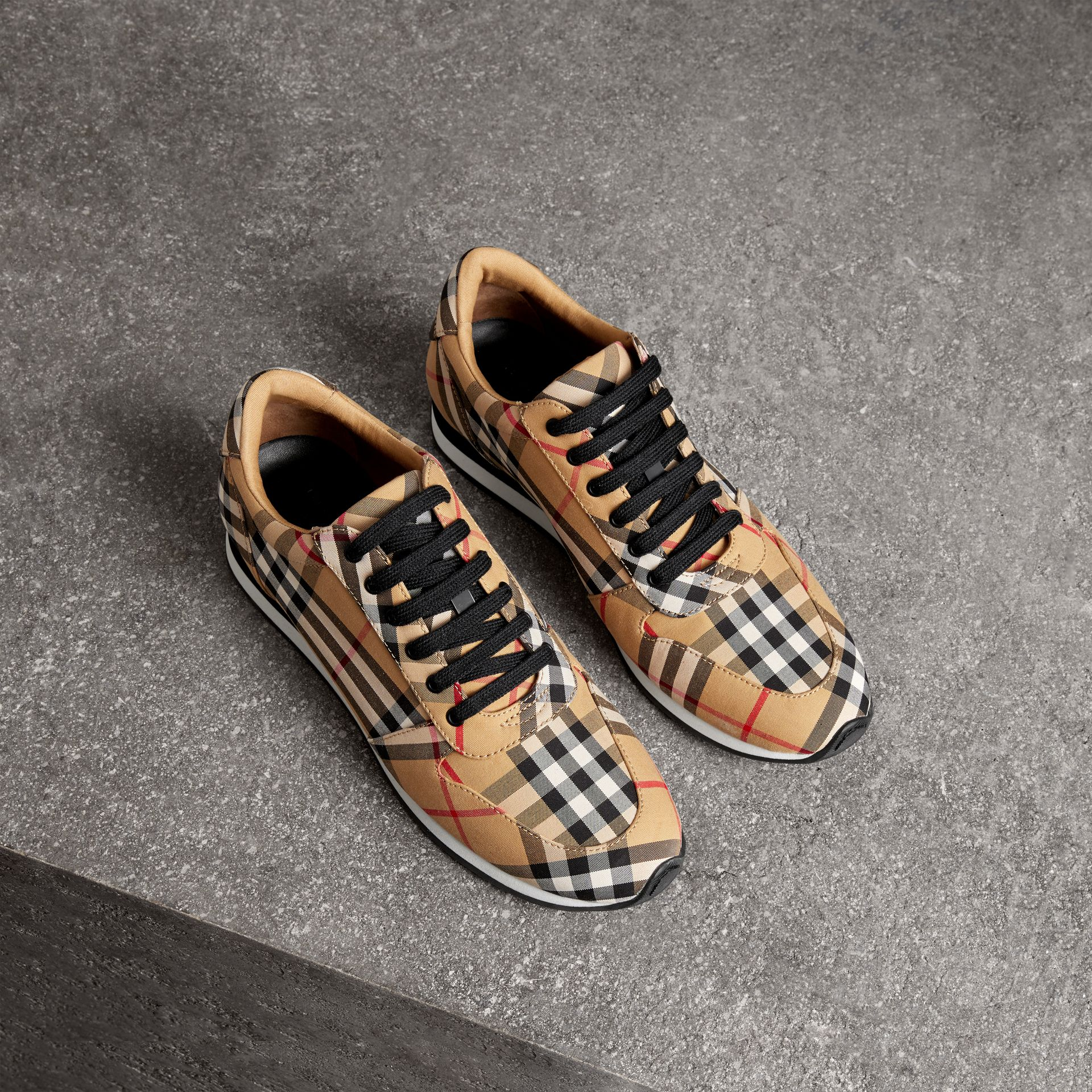 Vintage Check Cotton Sneakers in Antique Yellow - Women | Burberry United States - gallery image 0