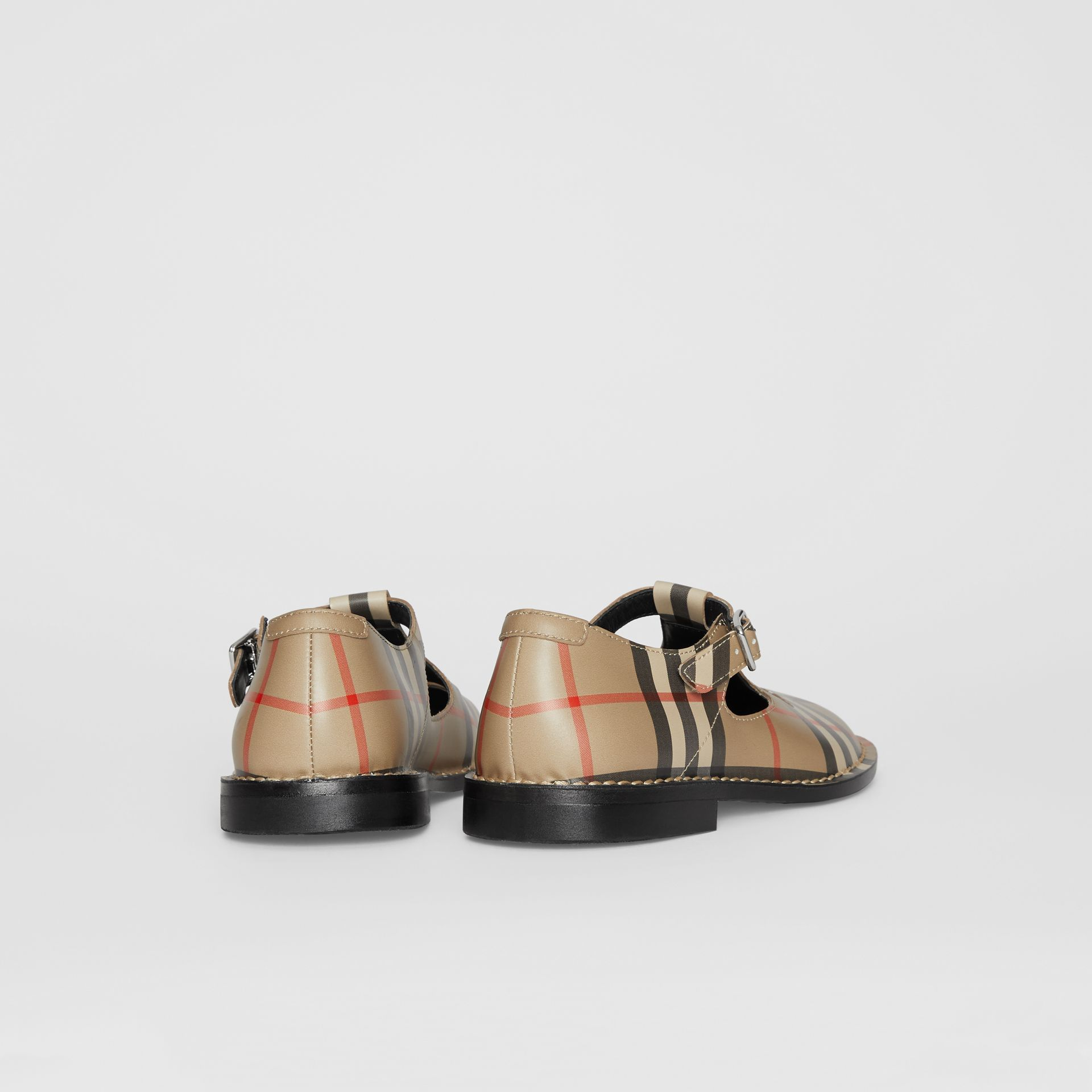 Vintage Check Leather Mary Jane Shoes in Archive Beige - Children | Burberry Hong Kong - gallery image 2